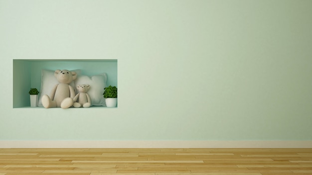 Bear doll and pillow in kid room or showcase - 3d rendering