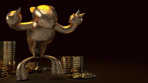 Медведь золотые и золотые еноты, 3d-рендеринг на темном