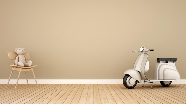 Bear on rocking chair and vintage motorcycle in kid room-3d rendering