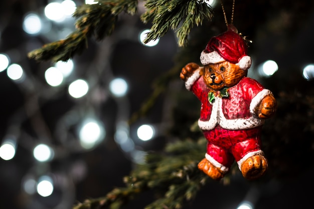 Bear in santa clothes ornament in tree