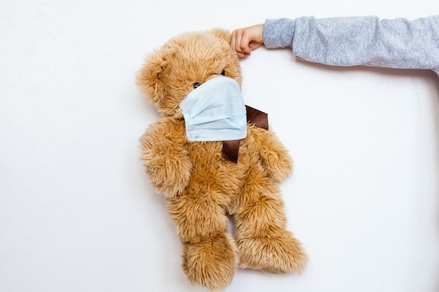 Bear sick, infection, virus, coronavirus, 2019-ncov, toy bear sick, virus and cold mask, treatment of toys and people, epidemic