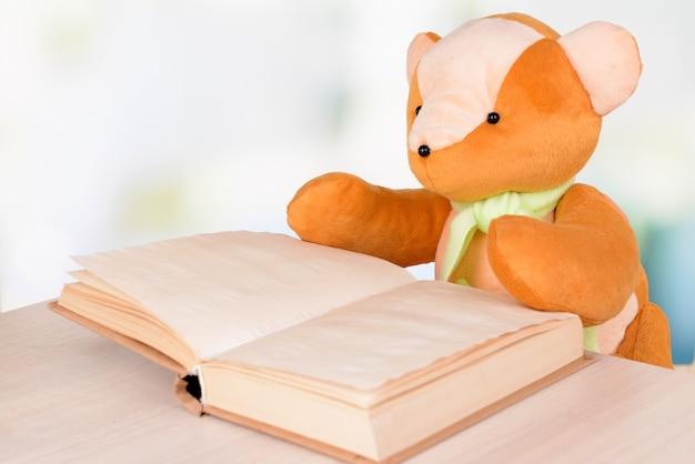 明るい背景の本とクマのおもちゃ