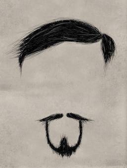 ひげ、髪と細いひげ