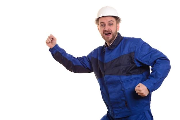 Beard man builder in hard hat