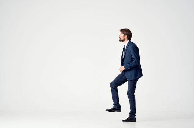 Bearded business man emotions successful office studio