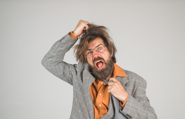 Bearded businessman confused bearded man academic professor secretary lawyer seo manager stressed