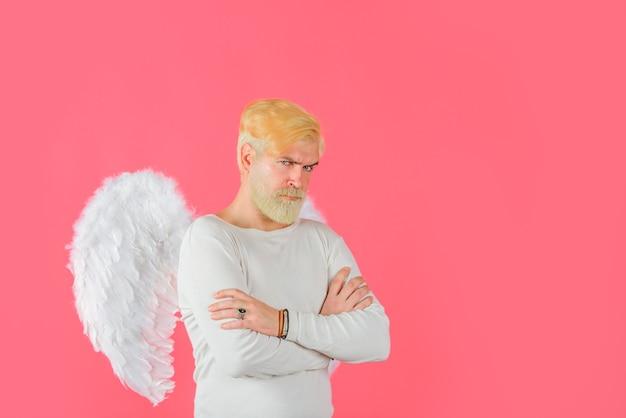 Бородатый купидон день святого валентина бородатый ангел купидон ангел мужчина амур в день святого валентина день святого валентина
