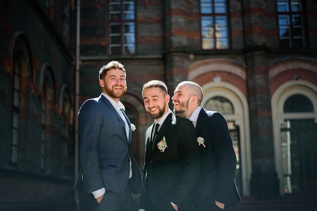Bearded groom and groomsmen stands smiling in the rays of summer sun