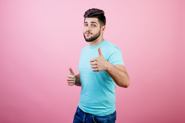 Bearded guy showing thumbs up