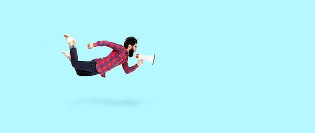 ひげを生やしたヒップスターの男がメガホンでジャンプして叫ぶ