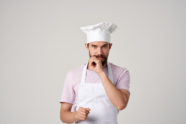 Bearded male both professionals kitchen job service