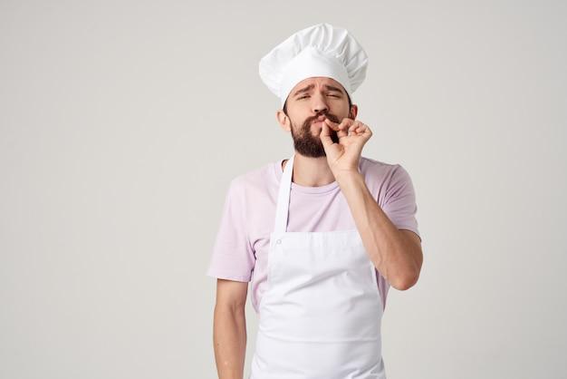 Бородатый мужчина оба профессионала кухня работа сервис