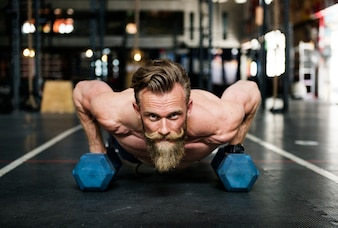 Bearded man at the gym