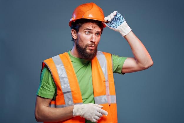 수염 난된 남자 건설 유니폼 열심히 직업
