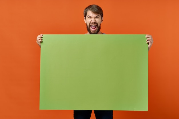Bearded man green mockup poster discount isolated background