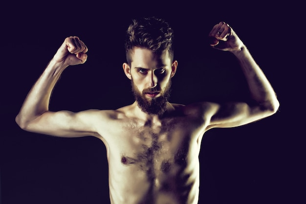 Bearded man or hipster with slim body with anorexia