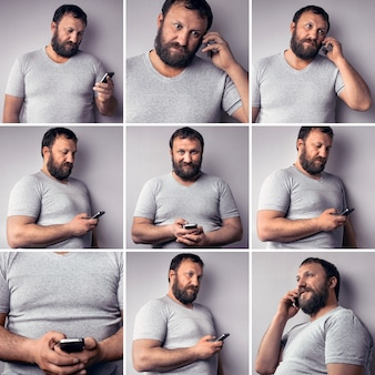 Бородатый мужчина в серой футболке держит мобильный телефон с помощью смартфона коллаж из множества фотографий