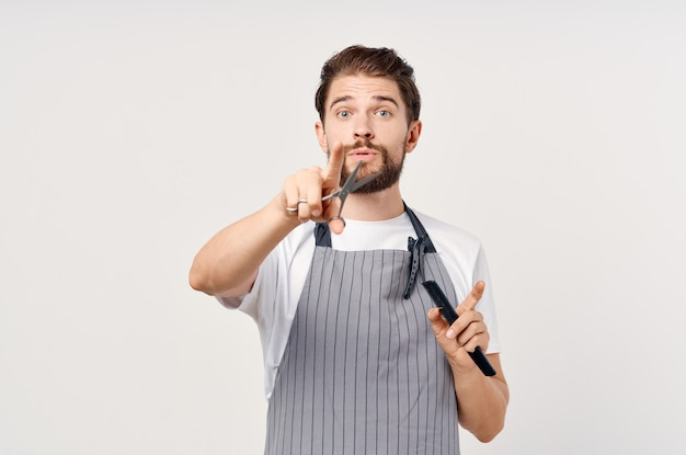 Bearded man modern hairstyle provision of services