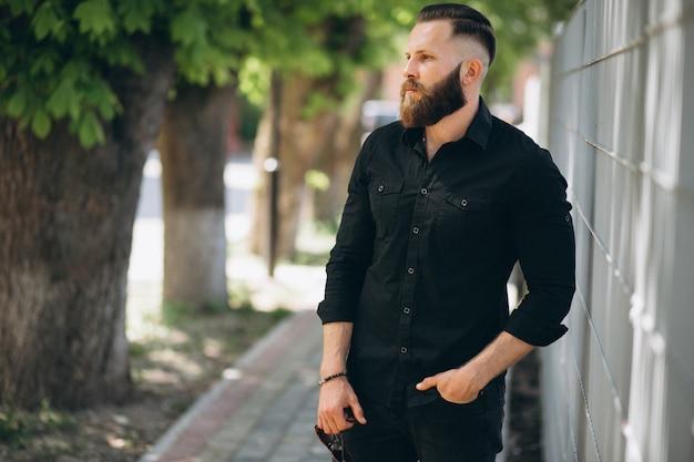 Bearded man in park