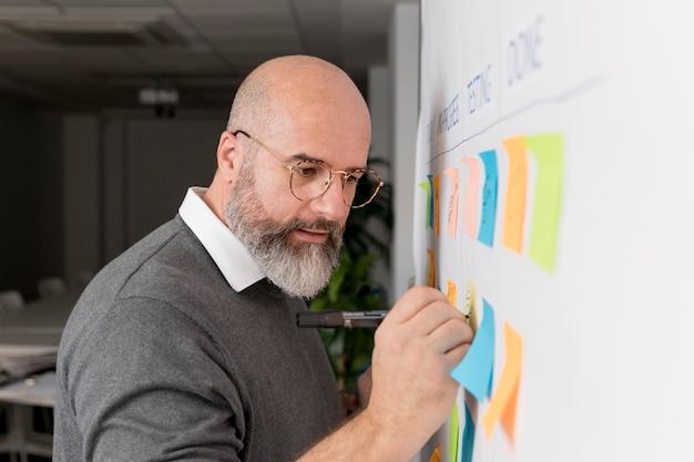 Bearded man planning scrum method
