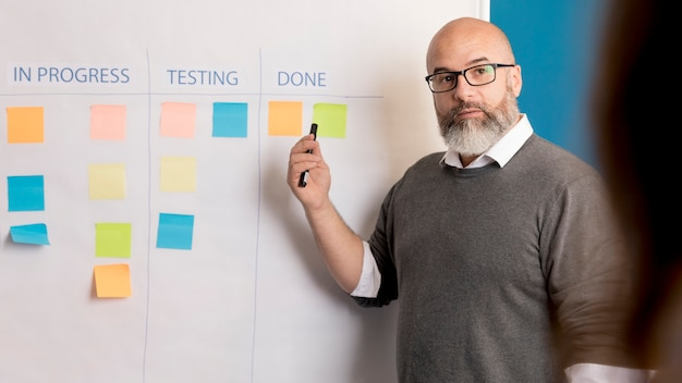 Bearded man presenting business method