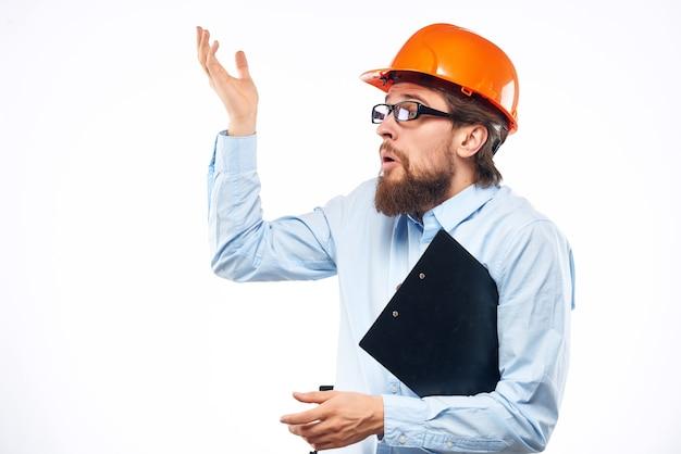 Bearded man professional working profession protective uniform