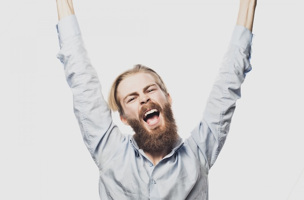 Bearded man showing hand up