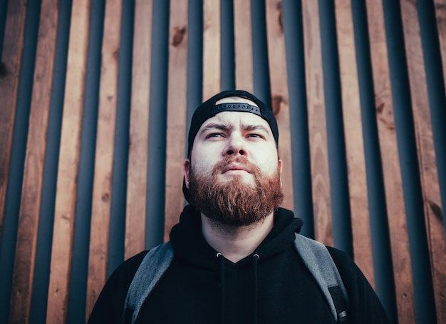 Bearded man traveler with backpack