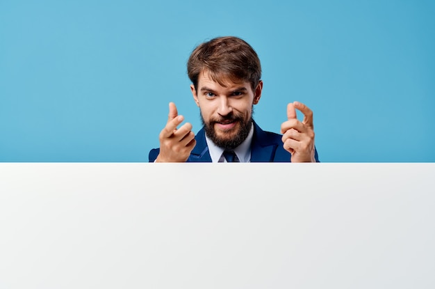 Bearded man white mockup poster in hand advertising isolated background