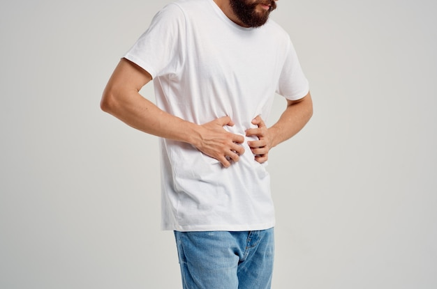 Bearded man with abdominal pain health problems diarrhea