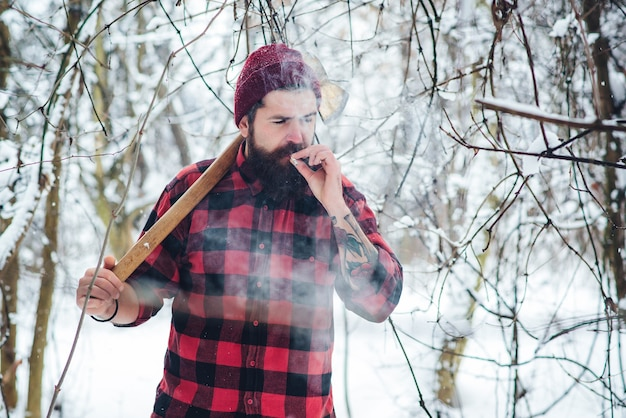 Bearded man with cigarette