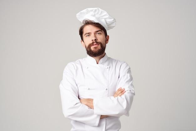 ひげを生やした男仕事制服職業キッチン孤立した背景