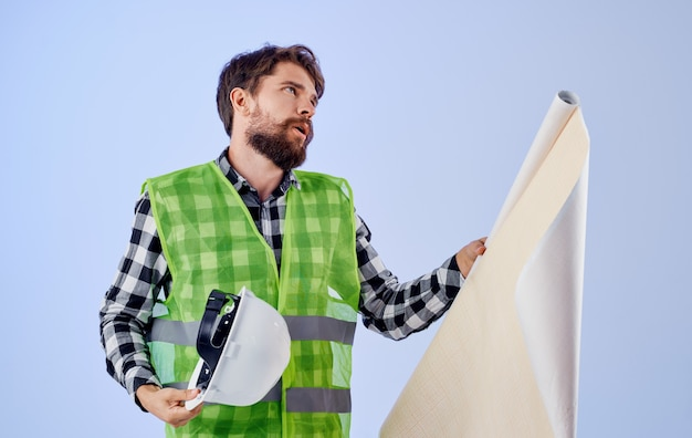 Bearded man working uniform white hard hat project engineer professional