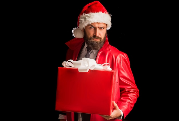 Bearded modern santa on black