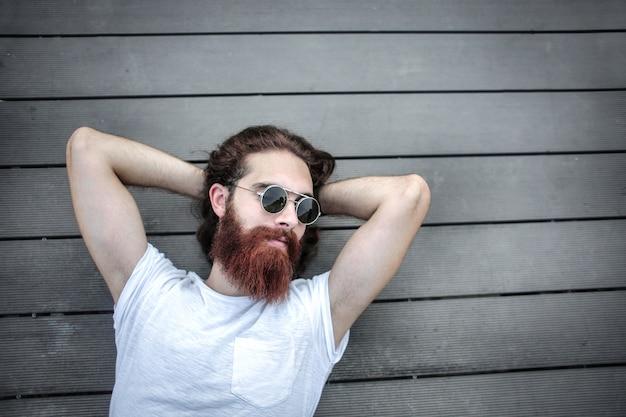 Bearded stylish hipster man
