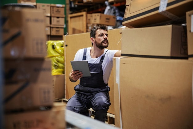 Bearded tattooed hardworking blue collar worker in overalls crouching in storehouse, using tablet and checking on inventory.