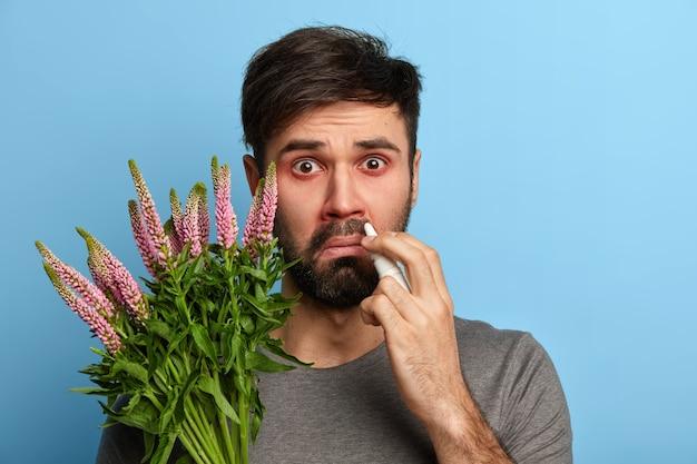 Бородатый нездоровый мужчина страдает сезонной аллергией, брызгает в нос каплями в нос, держит растение, будучи чувствительным к аллергену, позирует у синей стены. медицинская концепция