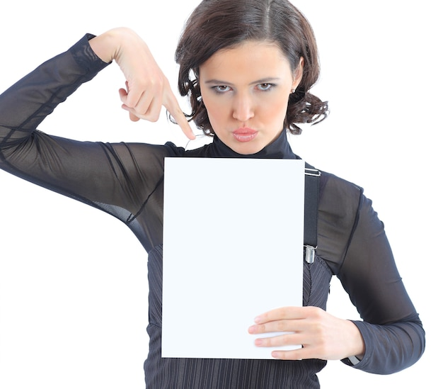 Beatiful business woman with a white banner