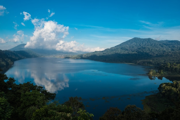 Beatiful view over the lake. lake and mountain view from a hill, buyan lake, bali.