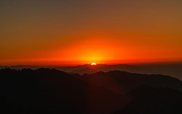 Beatutiful sunrise from kathmandu, height, nepal.