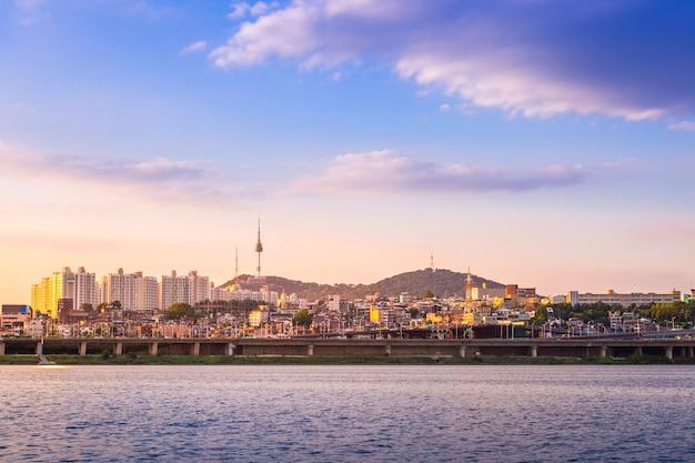 Beautifu seoul city in daytime, han river and n seoul tower, south korea.