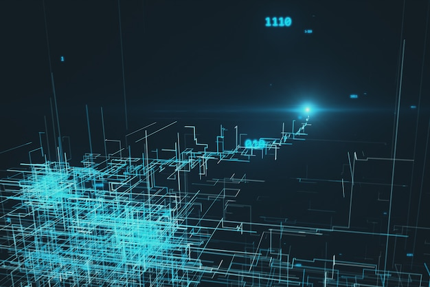 Beautiful 3d illustration of the global digital network growing with numbers flying. business concept.