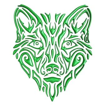 Красивая 3d иллюстрация со стилизованной красочной зеленой головой волка, изолированной на белом фоне