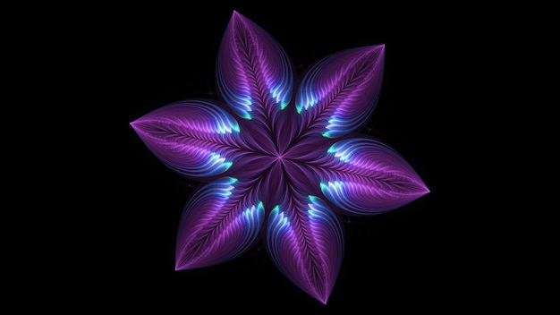 Beautiful abstract 3d colored flower, glowing flower petals on a black background. 3d render