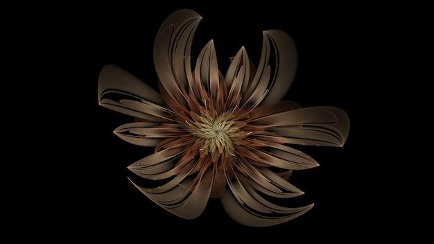 Красивый абстрактный 3d цветной цветок, светящиеся лепестки цветов на черном фоне. 3d визуализация