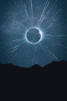 流れ星の美しい抽象的な空間コンセプト