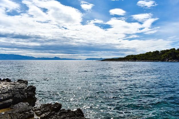 Красивое адриатическое море в хорватии. зеленая сосна, скалы, голубая вода, приятно