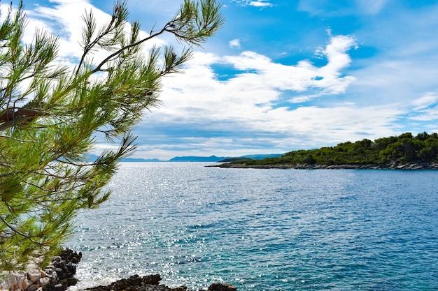 크로아티아의 아름다운 아드리아 해. 녹색 소나무, 바위, 푸른 물, 화창한 날씨, 좋은