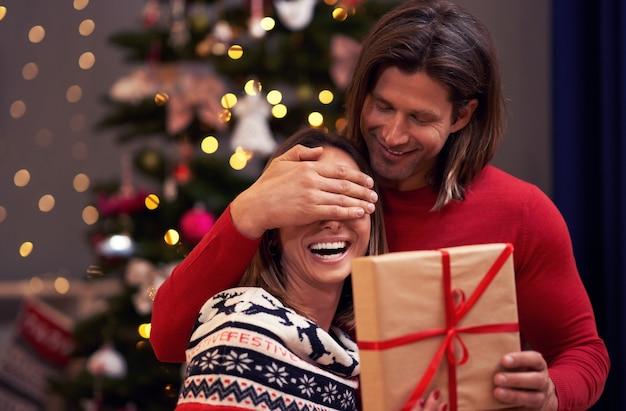 クリスマス ツリーの上のプレゼントを持つ美しい大人のカップル Premium写真