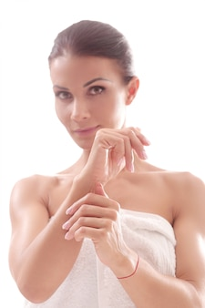 Beautiful adult woman portrait after shower